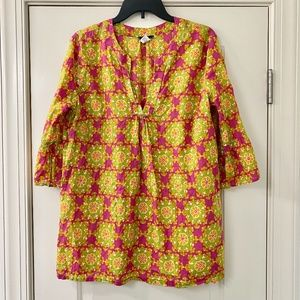 J. Crew Pink Green Floral Tunic Top Large